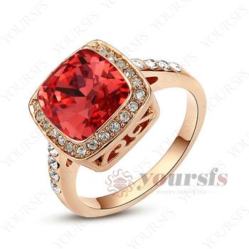 великолепный воды- красный австрии кристалла палец кольцо 18k роуз позолоченные рубиновое кольцо r123r4 бесплатная доставка