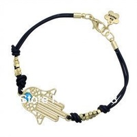 gold plated sideways shamballa hamsa turquoise evil eye braided lucky bracelet,women's birthdaychristmas gift