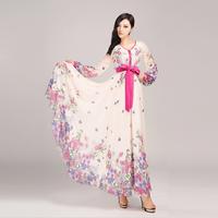 2014 Fashion women's ultra long floral print dress chiffon silk full length dress long sleeve plus size S-XXL floor-length dress