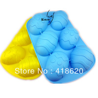 Free shipping factory wholesale silicone cake mould baking pan baking mould 6 eggs  handmade soap mould