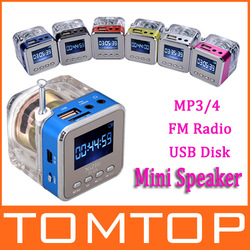6 Colors Digital Portable Mini Speaker Music MP3/4 Player Micro SD/TF USB Disk Speaker FM Radio LCD Display Free shipping(China (Mainland))