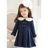 Hot 2014 New Design Retail autumn kids dress Fashion stitching lace collar pleated girls Clothes Free Shipping