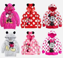 [Bear Leader ]2014 New Children Cartoon clothing boys girls Minnie/ Mickey cotton hoodies,baby fashion outwear coat fit 2-6yrs(China (Mainland))