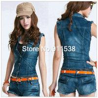 5pcs/lot Free shipping new arrival split pants bodysuit denim vest low-waist denim set jumpsuit  #H507-2