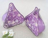 Free shipping DIY Folding Paper Wedding Candy Box Party Favors Packaging - 120pcs/lot LWB0095B Purple