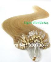 Top quality brazilian virgin straight hair light micro loop hair extensions light blonde #24 can be dye human hair