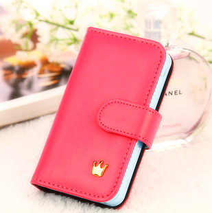 Fashion PU Leather Crown Smart Pouch Case for iphone 4/4s 4g 4th Phone Bag Case Card Holder ,drop shipping 1pc/lot