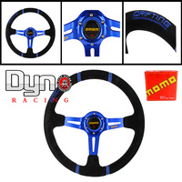 "Fit 14"" 350mm MOMO Deep Corn Suede Leather Drifting Steering Wheel Blue"