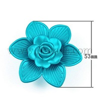 Colorful Acrylic Beads,  Rubberized Coating,  Flower,  DarkTurquoise,  Size: about 53mm long,  17mm thick,  hole: 2mm