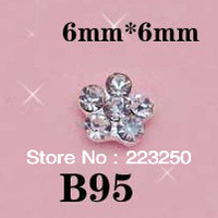 Free Ship 100pcs Nail Art 6mm*6mm Bow 3D Metal Decorations With Shining Rhinestones Acrylic Cell Phone Alloy Crystal Diamond B95
