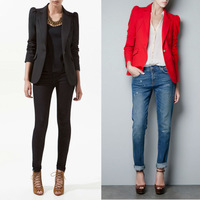 2014 New Womens Spring Tunic Foldable sleeve Blazer Black Red button suit jacket coat outwear Free shipping 0068