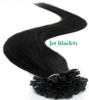 Top quality brazillian straight hair keratin nail stick nail tip virgin human hair extensions jet black#1 free shipping