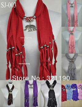 Free shipping 1pcs 2013 Hot elephant pendants scarf jewelry fashion style beads&tassel Charms scarves polyester 8 color SJ-003