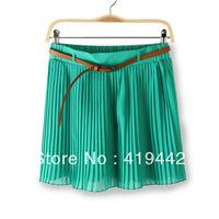 Free Shipping Women New Arrival sheds short design skorts thin belt pleated skirt type
