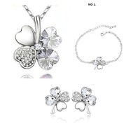Necklace bracelet earring,Wholesale fashion white gold plated clover crystal rhinestone jewelry set  PS186