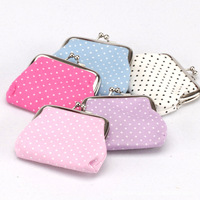 2013 Dot Creamy Ms. cotton fabric  wallet  ,womens fashion coin purse  24pcs/lot  wedding gift