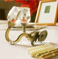Free shippig-2Pcs/set  Rose Crystal Tie Back Wall Hook Tieback Hooks Curtain hook Towel Hanger