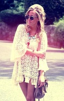 2013 free people fashion fairy flare sleeve national trend embroidery flower tassel lace beige skirt free shipping