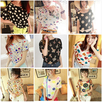New Top Blouse Sheer Batwing Short Sleeve Loose Women Ladies Chiffon T Shirt Free shipping