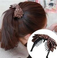FREE SHIPPING 2014 new Leopard grain Bowknot hair claw women hair caught hairgrips hair clip hair accessories