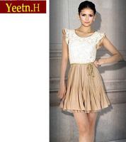 1310 Summer Dress 2014 Women Dress Court style Retro Lace Sleeveless Casual Dress Party Dresses Vestidos Free Shipping