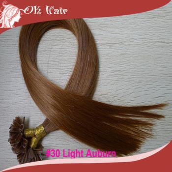 "50S #30 Light Auburn Pre Bonded Nail U Tip Keratin Glue 100% Remy Real Hair Extensions 16""-24"" Best BUY!"