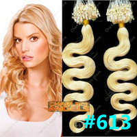 100strands 20 inch/50cm Body Wave, Remy Human hair Micro Loop Rings Hair Extension #613 Blonde, 0.5g/strand  8 Colors Optional