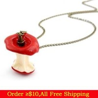 Min Order $10(Mix Items)Korean Fashion Chic Sweet Ate Green and Red Apple Pendant Long Necklace Charms Sweater Necklace women