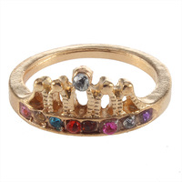 10 pcs/lot Fashion Lovely Cute Crown Colorful Crystal Rhinestone Ring Gold