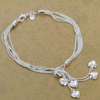H067 Wholesale! 925 silver bracelet 925 silver fashion jewelry charm bracelet Heart Pendant Bracelet