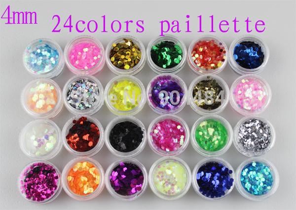 4mm Size 24colors Beauty Nail Art Decoration Desgin Hexagon Paillette Glitter Acrylic Sticker & UV Gel Nail Tips Wholesale 521(China (Mainland))