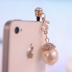Gorgeous diamond decoration pearl digital for iphone for apple dustproof plug cell phone accessories mobile phone(China (Mainland))