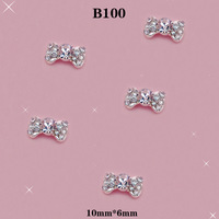 New Arrival Twinkle Rhinestones Bow Tie Nail DIY 3D Alloy Nails Art Decoration Size:10*6mm 20pcs/lot #B408