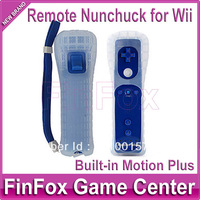 100pcs a lot Wholesale Remote Controller Built-in Motion Plus With Case and Hand Strap for Wii (Blue)