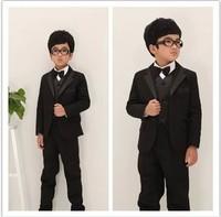free shipping boy's black suit children's suit for wedding Perform a suit sets: jacket+vest+shirt+bow tie+pants+belt