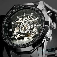 WINNER Luxury Watch Men Skeleton Auto Mechanical Watches Wristwatch Free Ship