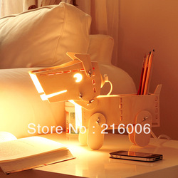 Puppy lamp (dimmable) bedroom bedside lamp creative lamp wooden pen holder(China (Mainland))