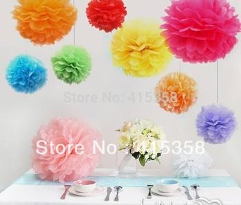 "10pcs/lot  6"" Tissue Paper Pom Poms Flower Balls Wedding Party Shower Decoration"