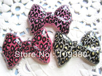 18pcs/lot,Fashion flat back resin leopard print bow  for hair/phone decoraction free shipping