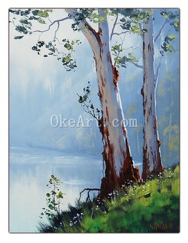 Gercken Australian Oil Painting River Gum Trees Commissioned Landscape Artwork Home Decor Wall Painting Hand Painted Art