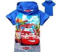 NEW 2014 Summer Fashion Spiderman-Cars Cartoon children Hoodies 100 cotton boys short sleeve t shirts kids hooded baby tops tees