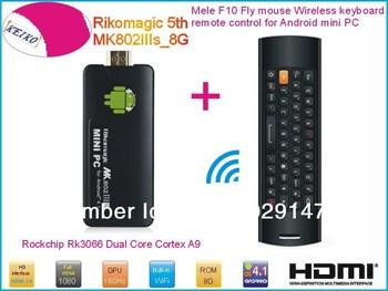 Rikomagic 5th MK802IIIs Android 4.1 mini PC TV Box RK3066 Cortex A9 1GB/8G [MK802IIIs/8G] + Mele F10 Fly Air Mouse