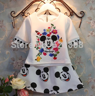 Retail new 2014 baby kids mickey mouse clothing set children girls clothes print brand minnie dress suits for 2-7Y A129(China (Mainland))