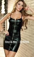 Free Shipping 2014 New Style Wet Look Zipper Front Dress Black Spaghetti Straps Mini Party Dress