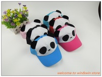 6 pcs per lot unsex adjustable Net back, kids baby children panda hats, baseball & sun hat, C2007