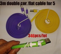 double colour flat USB cable, 8pin , 3 metre, charger for iphone 5 , 10colours,wholesale, 346pcs/lot  free shipping dhl