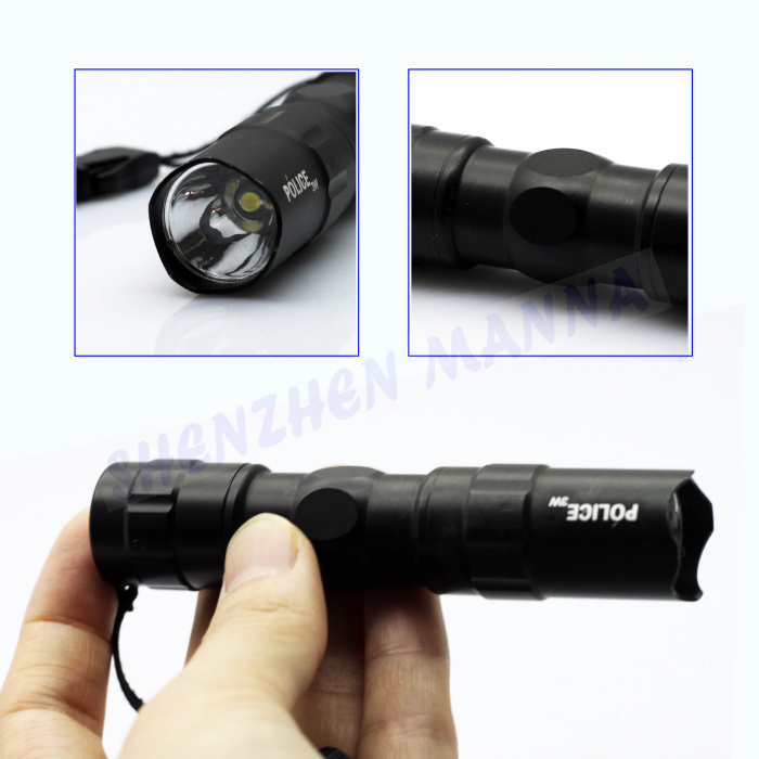 1PC FREE SHIPPING Mini Police Dry Battery Aluminium Flashligth LED torch light w/ key ring 3W 1AA DT008(China (Mainland))