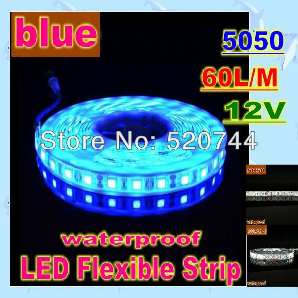 Led waterproof Strip Light blue 5050 60led/m 300 LED/5m , DC 12V Free shipping(China (Mainland))