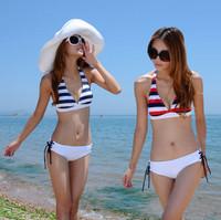 and hot sale Sexy hot springs fission triangle bikini swimsuit fashion the navy stripe bikini