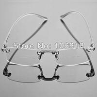 Bifocal Unisex Frameless Reading Glasses Smoke Fashion Men Reader Eyeglasses Case +1.50